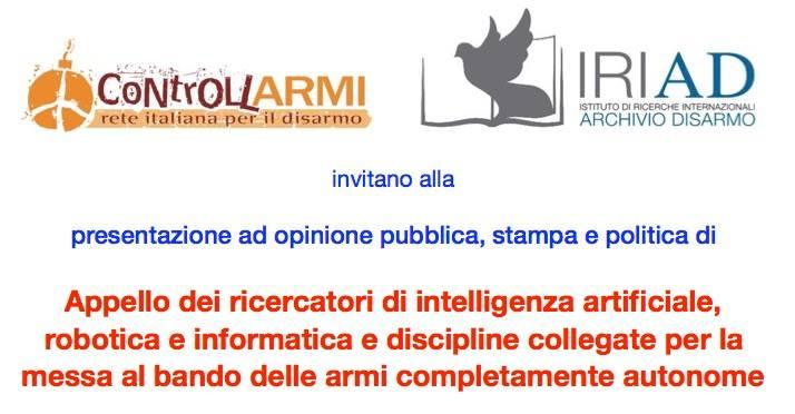 """Presentazione """"Appello dei ricercatori contro le armi autonome"""""""