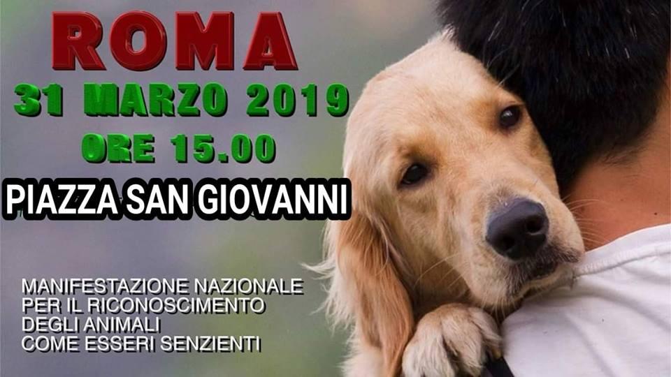 """Manifestazione Diritti Animali """"Soggetti non Oggetti"""" il 31 marzo a Roma"""