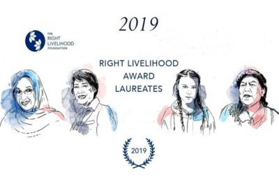 Il Right Livelihood Award 2019 verrà presentato a Stoccolma il 4 dicembre