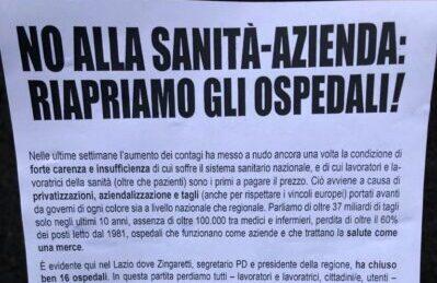 """Roma, occupato il Forlanini al grido di """"riaprite gli ospedali!"""""""